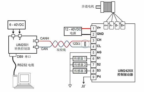 步进电机can总线通讯控制驱动器接线图