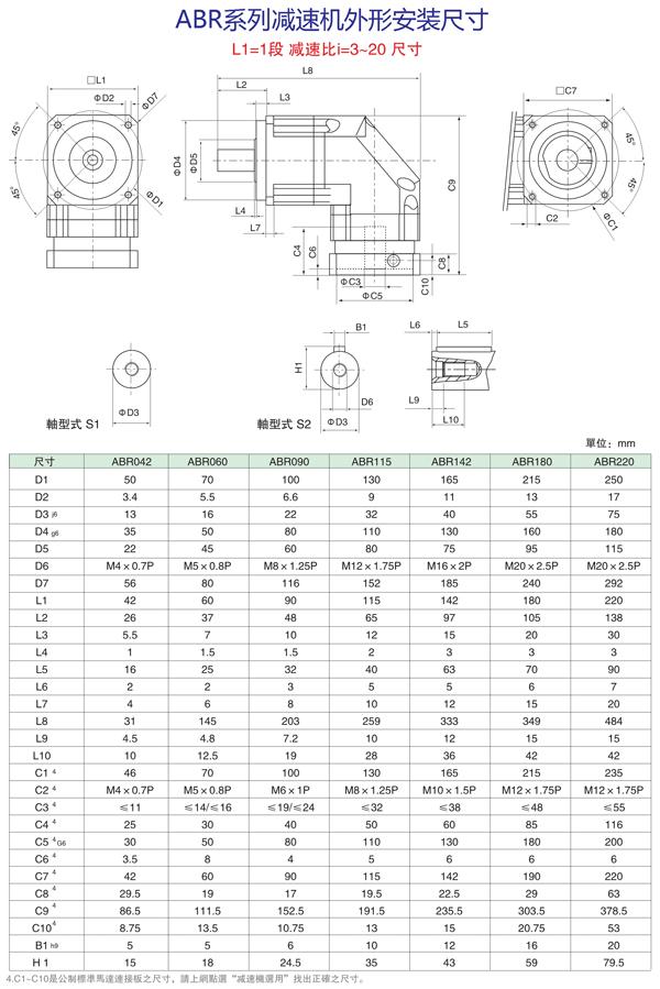 ABR系列3~20减速比减速机外形安装尺寸